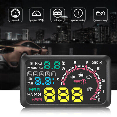 W02 HUD Head Up Display 5.5inch Windshield Projector OBD2 II Car Vehicle Speed