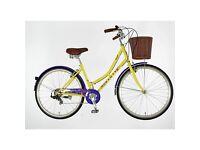 "DAWES DUCHESS ""HIPPY"" hybrid purple and yellow ladies bicycle"
