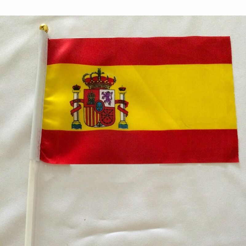 spain Held Stick Small FLAGS 10pcs Hand Table Flag Festivals Country España deco
