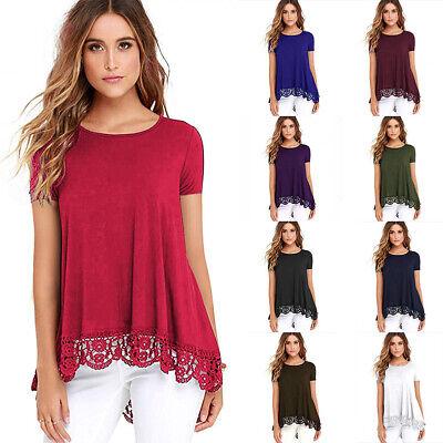 Women Lace Short Sleeve Casual Swing Loose Tunic Top Blouse T-Shirt Summer Dress Swing Top Tee