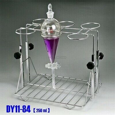 Stainless Steel 250ml Separatory Funnel Standframe Adjustable Lifting New Cu