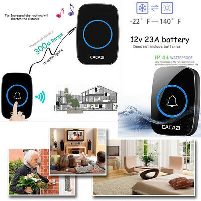 300M Remote Waterproof LED Wireless Doorbell 38 Songs Chime Door Bell EU US UK
