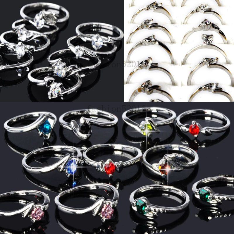 Wholesale Lots Mixed 60pcs Colorful Rhinestone Silver Tone Women/Girl