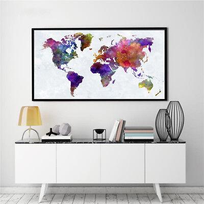 Banner World Map Abstract Watercolor Art Silk Canvas Poster Paint Unframed BM03