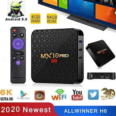 MX10 Pro 4+64GB 32GB Android 9.0 Smart TV BOX Quad Core 64bit USB3.0 WIFI 3D CA