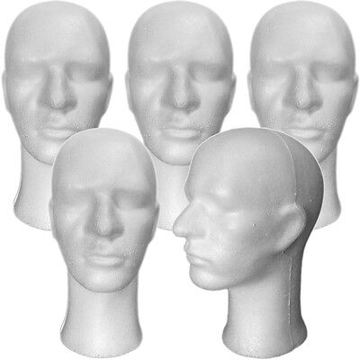 Less Than Perfect Mn-256-ltp 5 Pcs Male Styrofoam Mannequin Head With Long Neck