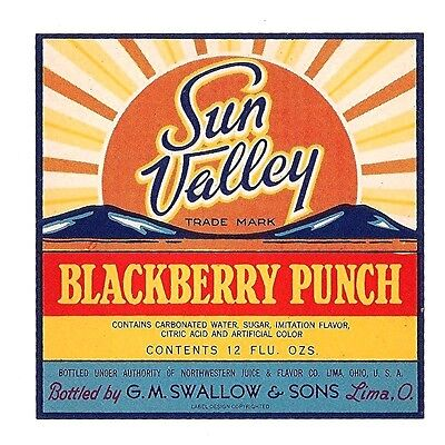 Sun Valley Blackberry Punch Soda Bottle Label Lima Ohio