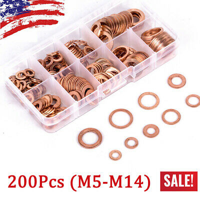 200Pcs Kit 9Sizes Assorted Solid Copper Crush Washers Seal Flat Oil Brake Ring