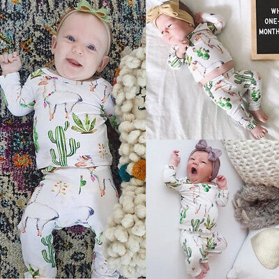 US Toddler Baby Girl Boy Cactus Tops Floral Pants Leggings 2Pcs Outfits Clothes](Cactus Outfit)
