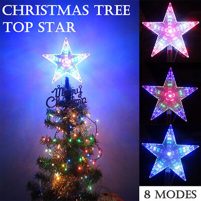 Topper Star Xmass Christmas Tree Top Outdoor Indoor LED Light 8 Flashing Modes E Christmas Tree Outdoor Light