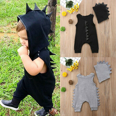 USA Newborn Infant Baby Boy Girl Dinosaur Hooded Romper Jumpsuit Clothes Outfit - Dinosaur Baby Outfit