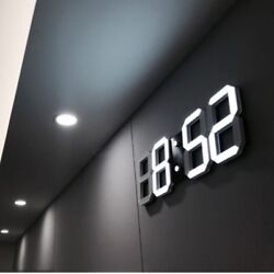 Large Modern Digital 3D White Led Skeleton Wall Clock Timer 24/12 Hour Display