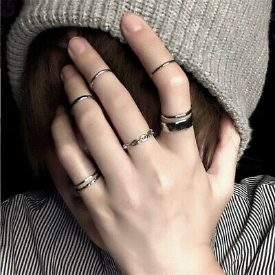 7Pcs Knuckle Rings Silver Midi Finger Ring Set Vintage Boho Women Jewelry Punk