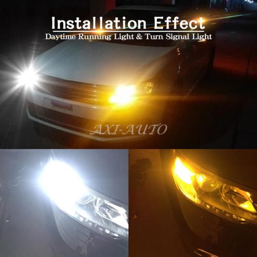 2Pcs 7443 3157 LED Dual Color Amber White Turn Signal Light Daytime Running Lamp