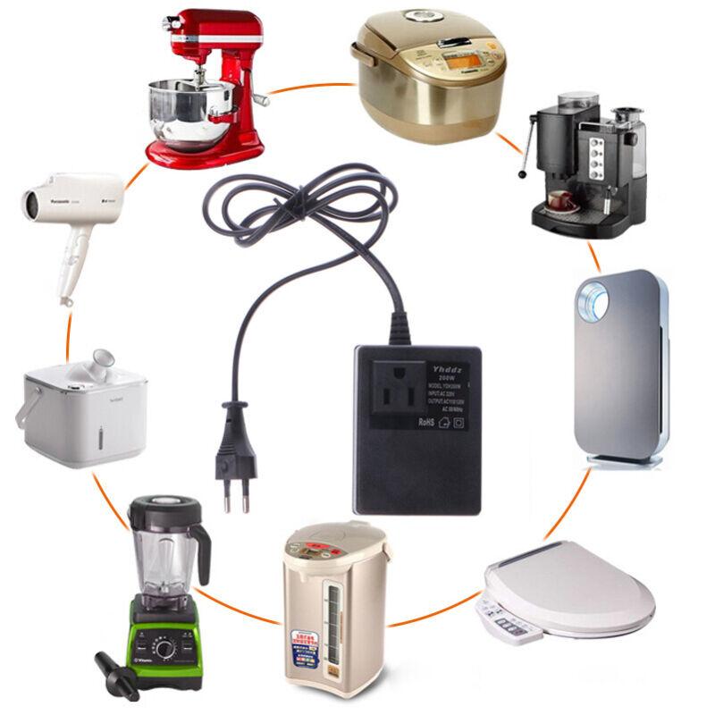 US-Plug Adapter 200W AC 220V to 110V Transformer Travel Voltage Power Converter.
