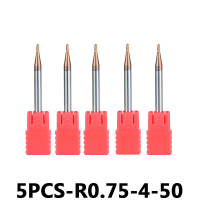 5pcs Carbide Ball Nose End Mill Set Radius 0.75mm 2 Flute Hrc55 Cnc Milling Bits