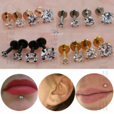 PAIR of Round Crystal Cartilage Tragus Nose Piercing Labret Ear Helix Lip Ring