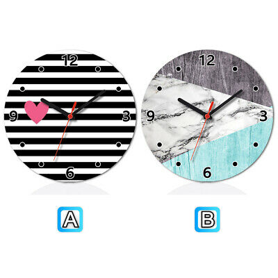 (Heart With Stripes Marble Mint Wooden Wall Clock Modern Home Office Decor)