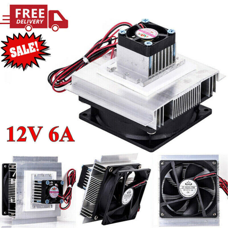 12V 6A Thermoelectric Peltier Refrigeration Cooling System Cooler Fan DIY Kits