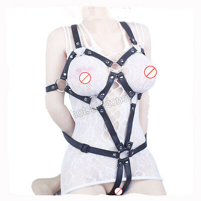 PVC Leather Sexy Women's  Open cup body suit harness lingerie Corset BELT