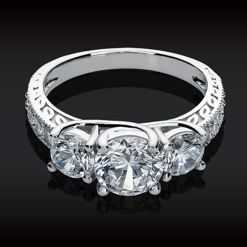 2.61 CT 3 Stone Brilliant Cut Engagement Ring Past Present