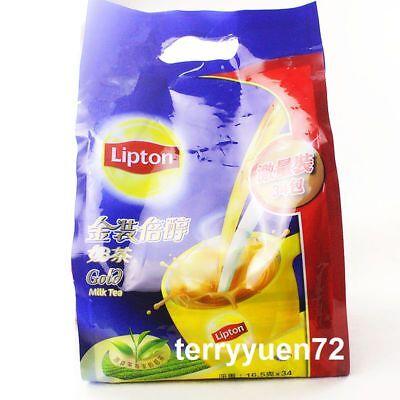 Lipton Gold Milk Tea Instant 3 in 1 bags sticks Hong Kong Style 34 packs立頓金裝倍醇奶茶