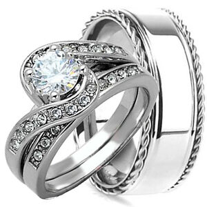 His hers 3 pc 925 sterling silver and stainless steel for 3pc wedding ring set