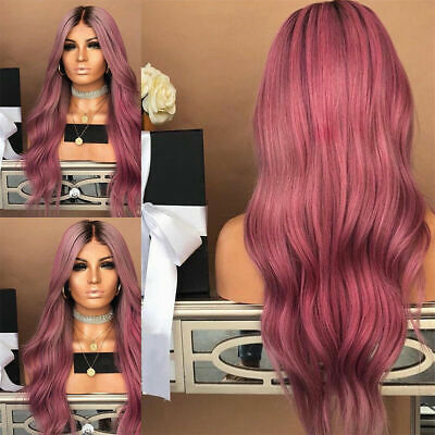 Best Synthetic Ombre Hair Sexy Wig Long Wavy Curly Full Wigs +Cap For
