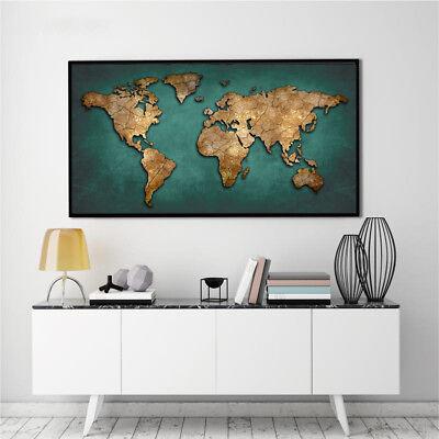 Banner World Map Abstract Watercolor Art Silk Canvas Poster Paint Unframed BM06