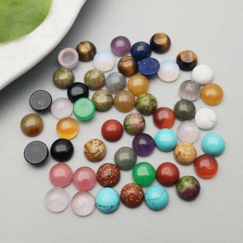 Wholesale 6mm Round CAB CABOCHON Natural Stone Mixed Round Stone Beads 50pcs