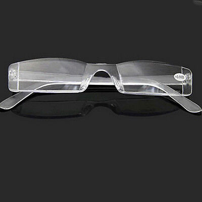 Clear Presbyopia 1.00-4.00 Diopter Eyeglasses Clear Rimless Reading Glasses (Clear Glass Eyeglasses)
