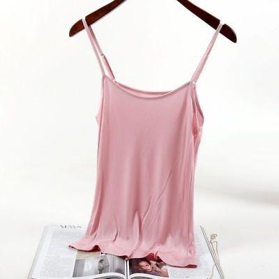 Einfach Seide (Damen Seide Unterhemd ärmelloses Top ärmellos einfach T-Shirt Oberteile solide)