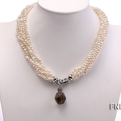 - Six-strand 4-5mm White Freshwater Pearl Necklace with a Smoky Quartz Pendant
