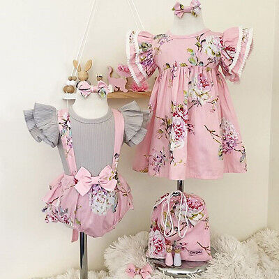 USStock Toddler Baby Girl Floral Dress Infant Romper Overall Tops+Bib Shorts Set
