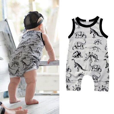 Newborn Toddler Baby Boys Dinosaur Clothes Romper Sleeveless Jumpsuit Outfits