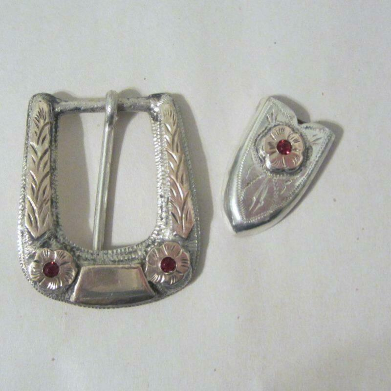 Mexican Silver Belt Buckle and Belt Tip