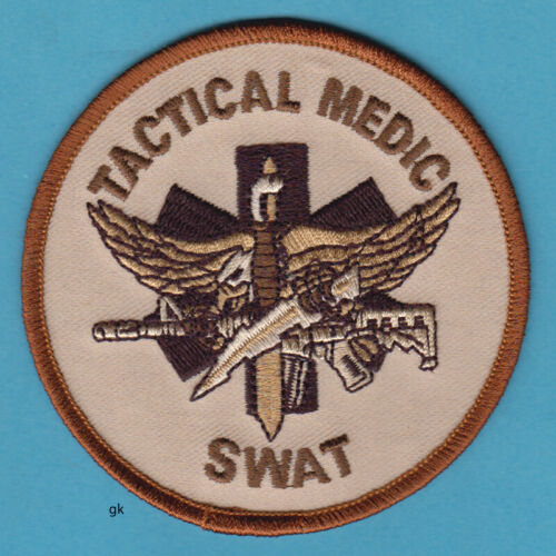SWAT TACTICAL MEDIC POLICE SHOULDER PATCH  (Subdued -Tan)