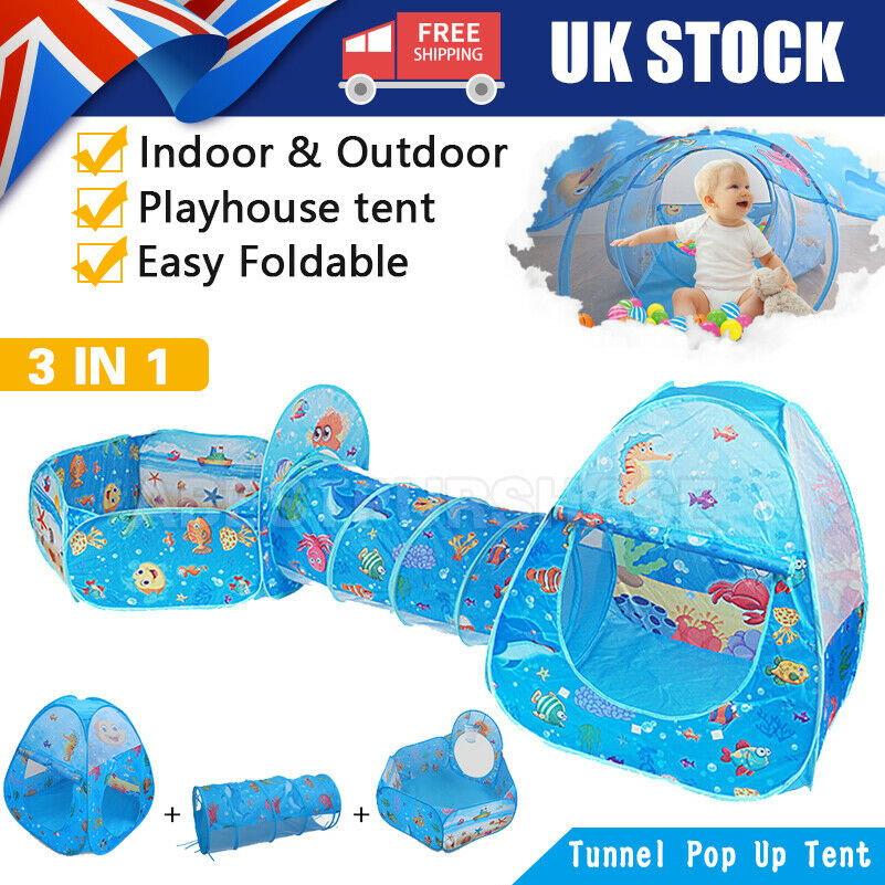 Details about Kids Play Tent Crawl Tunnel 3 In 1 Pop Up Playhouse Ball Pit Folding Play Tent