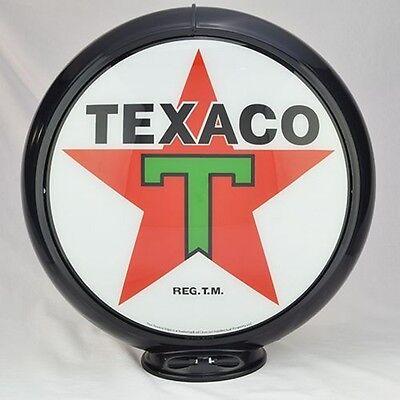 Texaco T-Star Gas Pump Globe Black Trim T Glass Lenses Station Shop Store Decor
