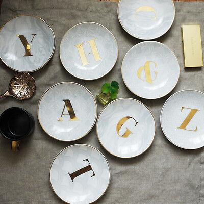 Gold Monogrammed Alphabet Initial Letter Ceramic Decorative Plate Ring - Ceramic Letter Dishes