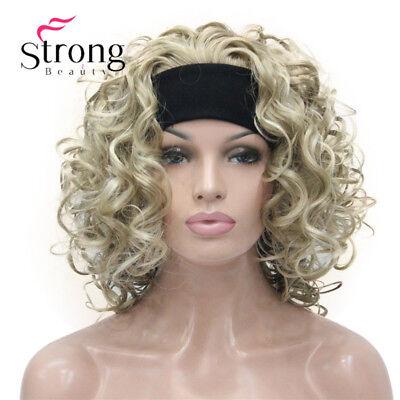 Blonde Highlight Short 3/4 Women's Wigs Hairpiece Curly Hair Piece with Headband - Headband Wigs Short
