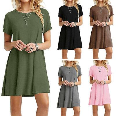 Womens Summer Short Sleeve T Shirt Dress Plus Size Beach Sundress A Line Dress