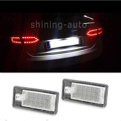 for Audi Q7 A3 A4 A6 S4 RS4 Canbus License Plate Light 18 SMD LED White car Blub