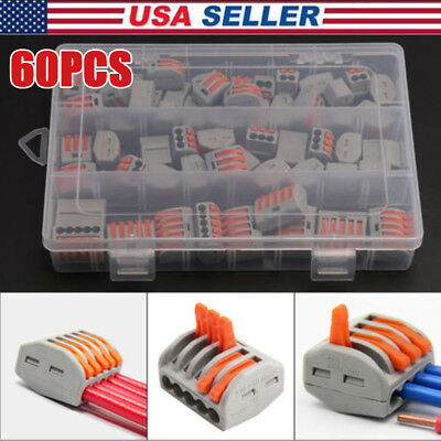 60x Reusable Terminal Block Lever Home Connector Wire 2 3 5 Pole Cable Clamp Nut
