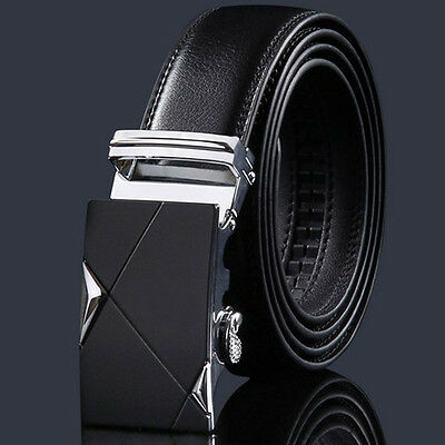 Luxury Mens Genuine Leather Automatic Buckle Belts Waist Strap Belt Waistband