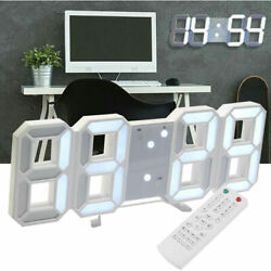 Modern LED Digital Table Wall Alarm Clock Remote Control USB Large 3D Display US
