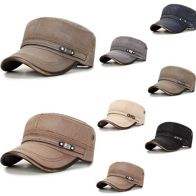 Outdoor Mens Washed Cotton Flat Top Hat Sunscreen Military Army Peaked Dad - Flat Top Hat