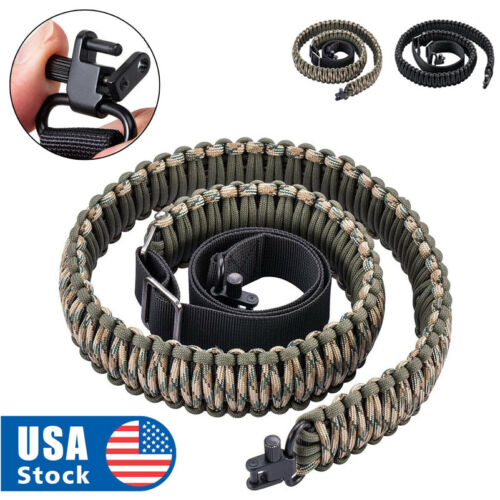 Paracord 550 Rifle Shotgun Crossbow Gun Sling Tactical Adjustable Swivels USA