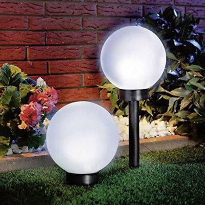 2x Modern Large Solar Powered White Globe Ball Garden Lights Stake Post Lamp CHW ()