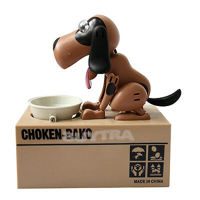 Choken Puppy Hungry Eating Dog Coin Bank Money Saving Box Piggy Bank Present Z0